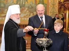 А. Лукашенко в Рождество посетил Храм-памятник в честь Всех Святых